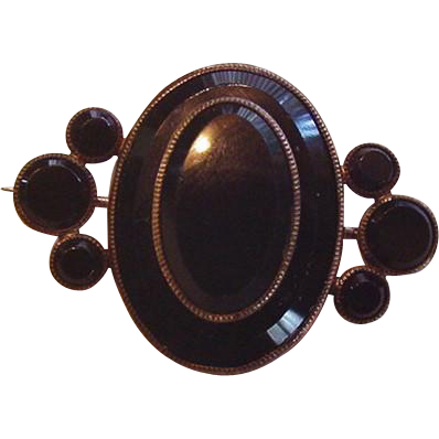 Victorian Black Onyx Layered Pin