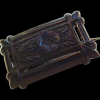 Victorian Vulcanite Antique Black Framed Floral Pin