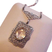 Edwardian Filigree Lavalier Rhinestone Necklace