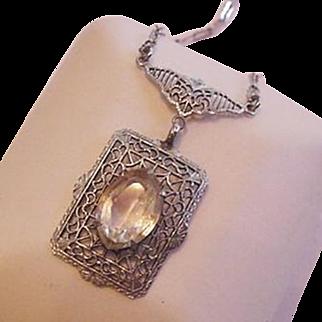 Edwardian Filigree Lavalier Rhinestone Necklace