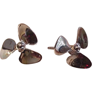 Sterling Silver Propeller Earrings Vintage