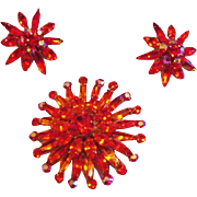 Vibrant Orange Burst Rhinestone Pin / Pendant and Earrings