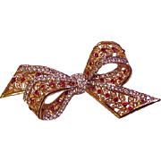 Red and Clear Rhinestone Bow Vintage Pin