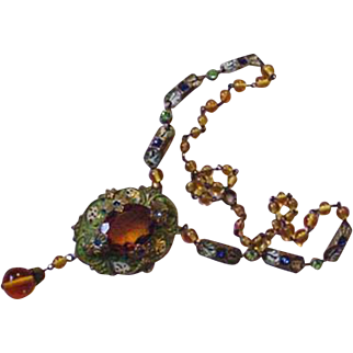 Old Brass and Topaz Glass Necklace