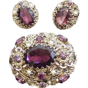 Purple Rhinestone Vintage West Germany Pin and Earrings