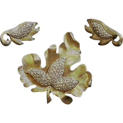 Pave Rhinestone Vintage Leaf Pin and Earrings Ledo