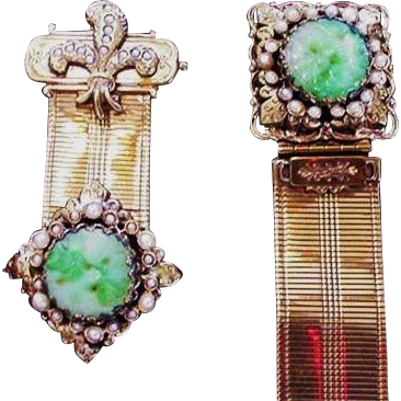 Victorian Revival Green Glass Bracelet and Pin
