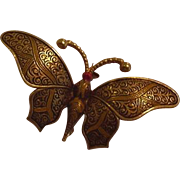 Large Damascene Butterfly Pin Vintage Spain