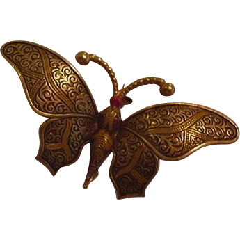 Large Damascene Butterfly Pin Vintage Spain