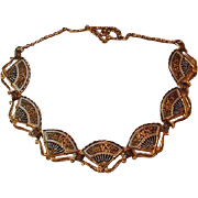 Damascene Necklace of Fans Vintage