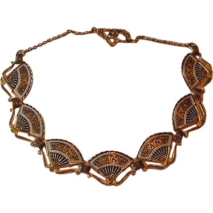 Damascene Necklace of Fans Vintage
