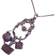Sterling Silver Vintage Baskets Necklace