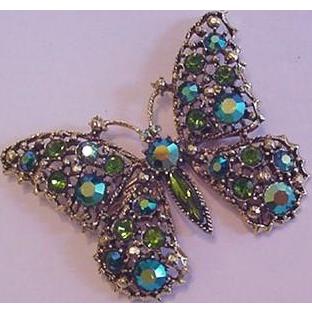 Butterfly Vintage Pin Teal Rhinestones