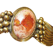 Mexican Fire Opal and Brass Cuff Bracelet