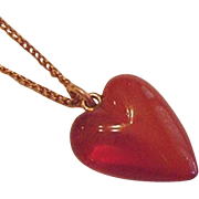 Amber Necklace Carved Heart