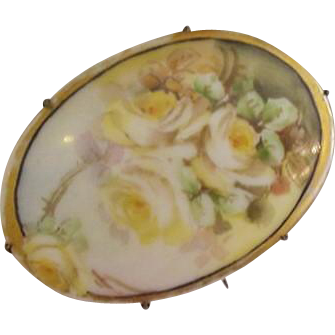 Victorian Painted Porcelain Yellow Flowers Pin