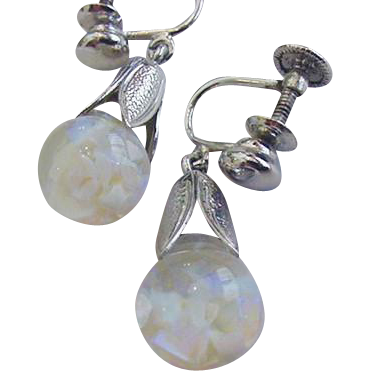 Floating Opal Sterling Silver Earrings Vintage