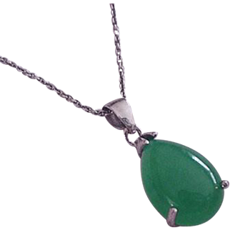 Sterling Silver and Jade Necklace Vintage