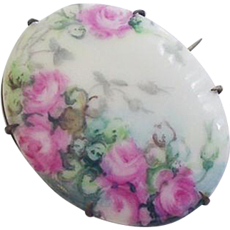 Late Victorian Painted Flowers Pin