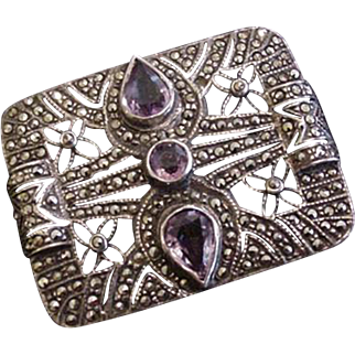 Art Deco Sterling Marcasite Amethyst Pin