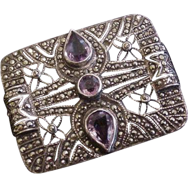 Art Deco Sterling Marcasite Amethyst Pin