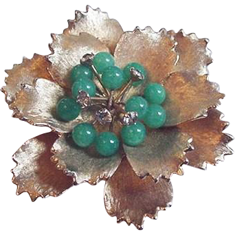 Green Glass Flower Pin