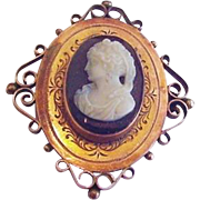 Victorian Hardstone Cameo Pin Pendant