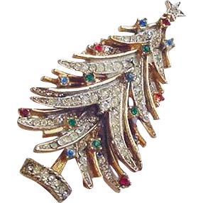 Rhinestone Christmas Tree Pin Art