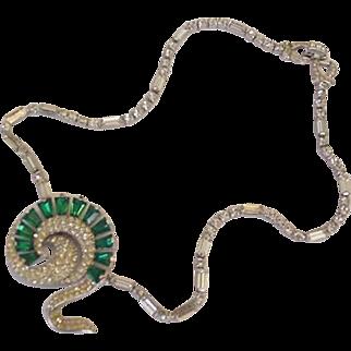 Green Rhinestone Retro Modern Mid Century Necklace
