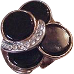 Black Bubbles and Rhinestones Cocktail Ring