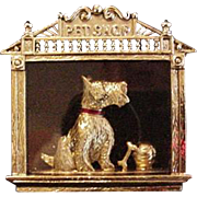 Scotish Terrier Doggie in the Pet Shop Window Pin