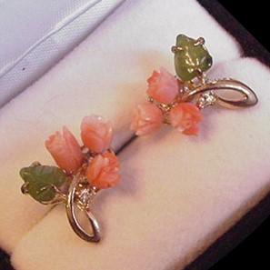 Carved Coral and JadePierced Earrings