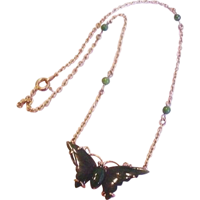 Carved Jade Butterfly Necklace