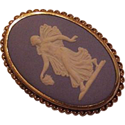 Large Blue Wedgewood Cameo Pin Pendant
