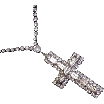 Large Rhinestone Cross and Chain Necklace
