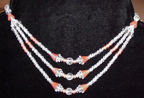 Art Deco Carnelian and Crystal Necklace