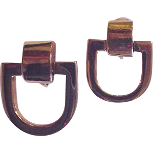 Givenchy Vintage Stirrup Clip on Earrings