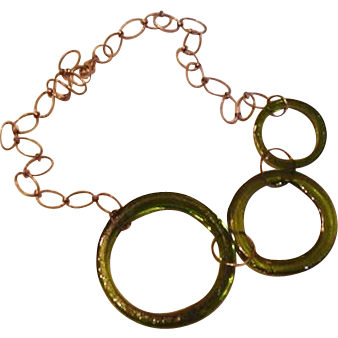 Sterling Silver and Large Green Glass Circles Necklace