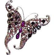 Butterfly Pin Vintage Big Purple Rhinestone
