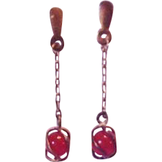 Sterling Silver Carnelian Dangle Pierced Earrings