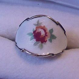 Enameled Rose Vintage Ring