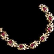 Trifari Red Rhinestone Bracelet