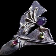 Mid Century Sterling Silver Garnet Amethyst Pin
