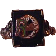 Retro Modern Enameled Insignia Ring