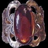Brass and Amber Glass Vintage Rhinestone Ring