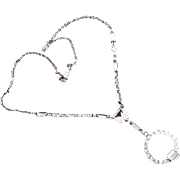 Art Deco Clear Rhinestone Lavalier Necklace
