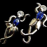 Ballet Dancer Pair Blue Vintage Rhinestone Pins
