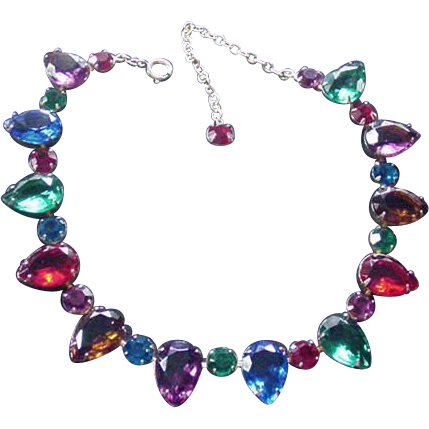 Jewel Tones Vintage Rhinestone Necklace