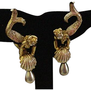 Marvelous Marvella Vintage Mermaid Earrings