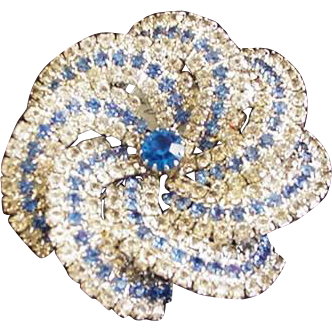 Big Sparkling Blue Rhinestone Pinwheel Pin